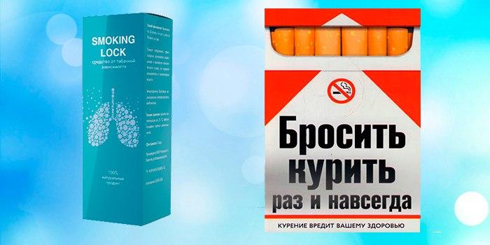упаковка препарата и сигарет